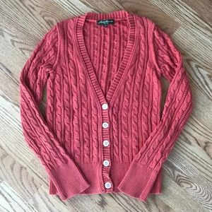 EDDIE BAUER Salmon Cable Knit Cardigan Sweater XSP
